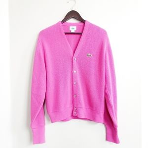 Izod Retro Vtg Grandpa Cardigan Sweater Pink